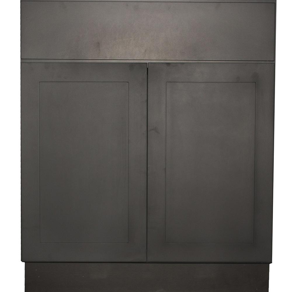 Black Satin Shaker II - Ready to Assemble 24x33x21 in. 2 Door Vanity Sink Base Cabinet