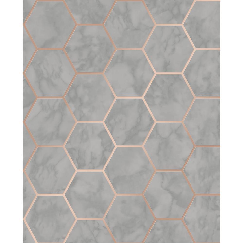 Margaret Grey Marble Hexagon Wallpaper