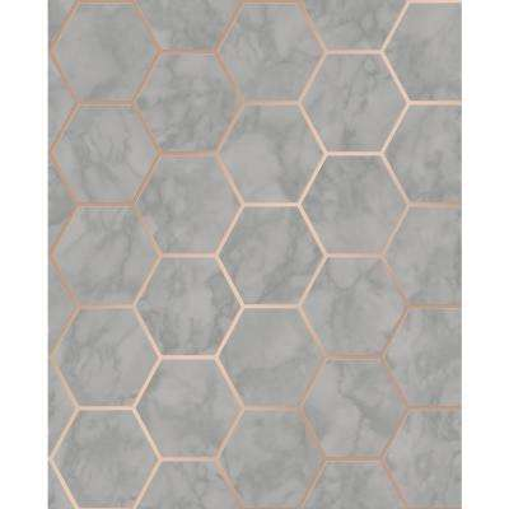 Margaret Grey Marble Hexagon Wallpaper Sample