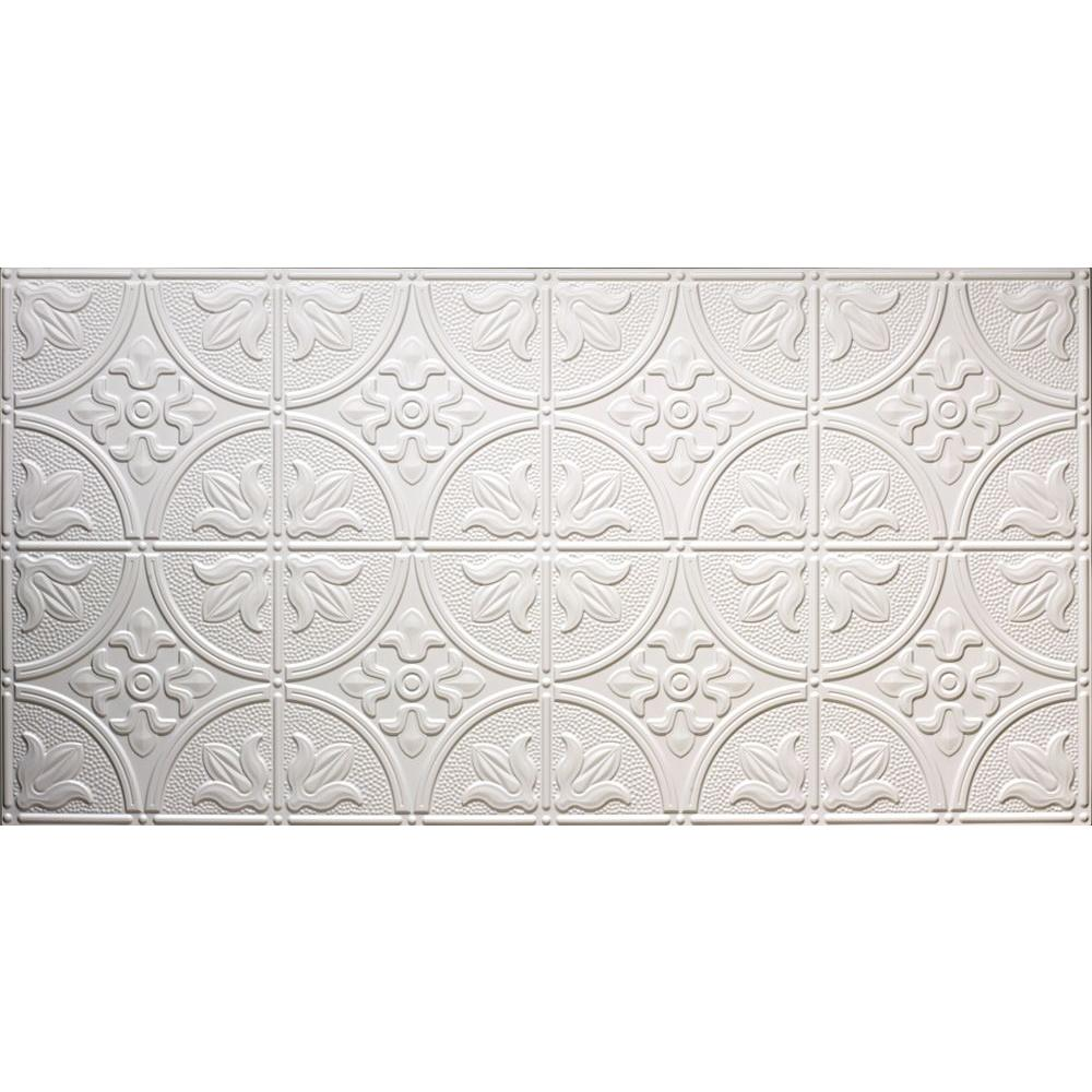 Global Specialty Products Dimensions Faux 2 ft. x 4 ft. Glue-Up Tin Style White Ceiling Tile for Surface Mount