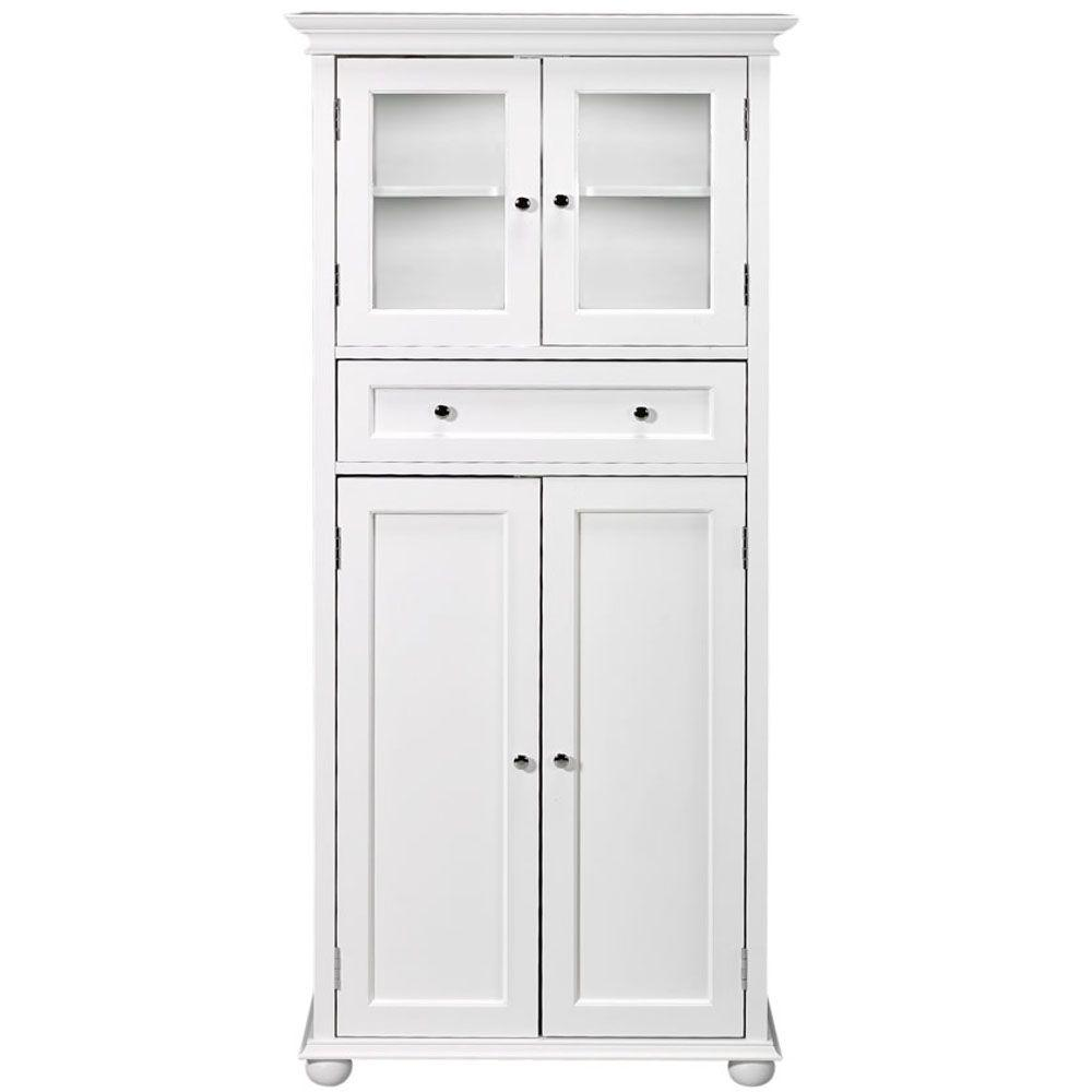 D X 52 1 2 In H Linen Cabinet With Drawer White