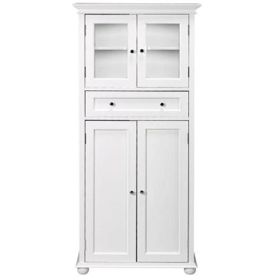 Hampton Harbor 25 in. W x 14 in. D x 52-1/2 in. H Linen Cabinet with Drawer in White