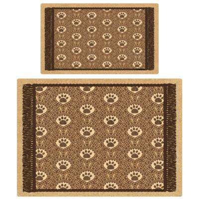 Brown Paws on Rug Multi-Use Pet Mat (Set of 2)