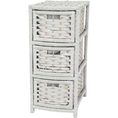 3-Drawer White Natural Fiber Occasional Trunk