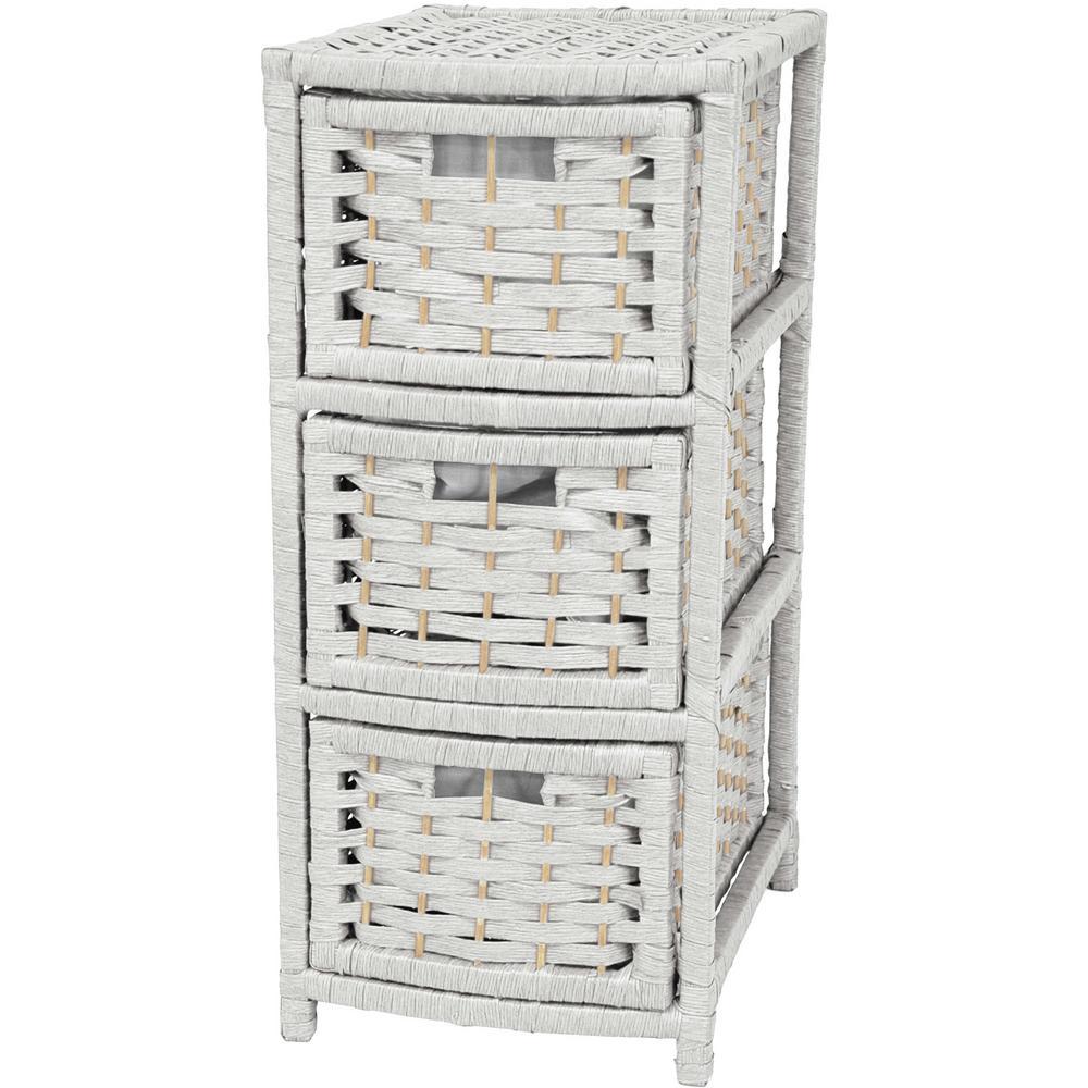 Oriental Furniture 3-Drawer White Natural Fiber Occasional Trunk JH09-048-3-WHT