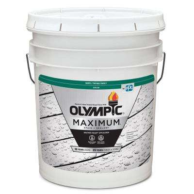 Maximum 5 gal. White/Base 1 Solid Color Exterior Stain and Sealant in One