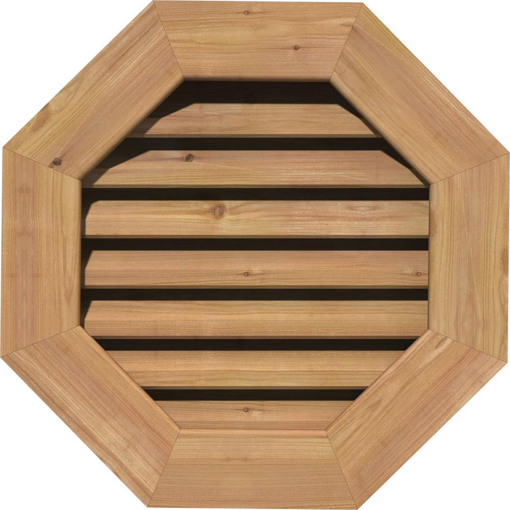 Ekena Millwork 19 in. x 19 in. Smooth Cedar Functional Gable Vent w/ Brick Mould Face Frame Unfinished (14 in. x 14 in. Rough Opening)