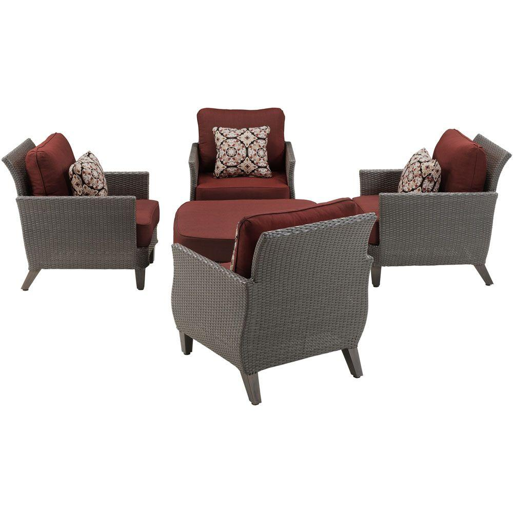 Hanover Savannah 5 Piece All Weather Wicker Patio Conversation Set With  Crimson Red Cushions