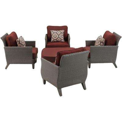 Savannah 5-Piece All-Weather Wicker Patio Conversation Set with Crimson Red Cushions