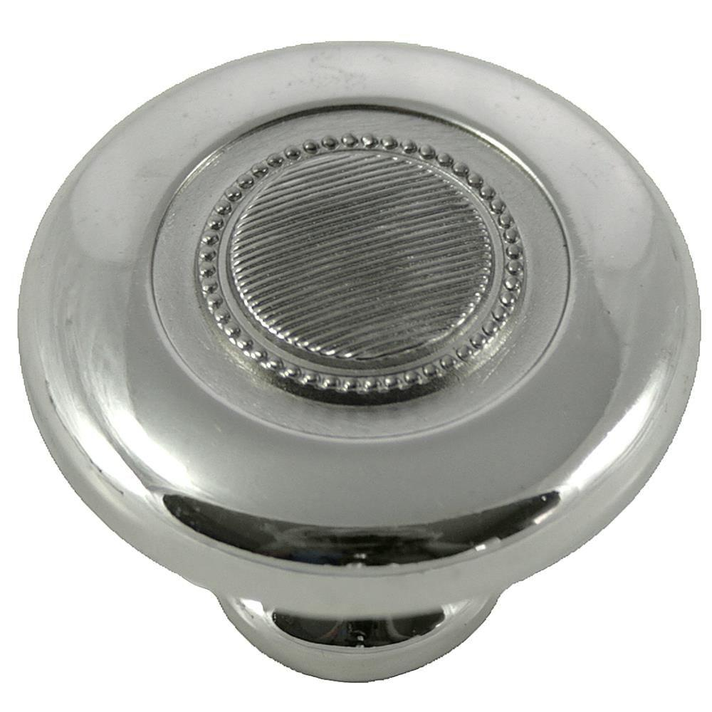 MNG Hardware 2 in. Polished Nickel Vanilla Button Knob The Vanilla Knob by MNG Hardware features a beautiful beaded accent to today's popular design. Casted in High Density Zinc for durability and quality. Includes standard mounting hardware.