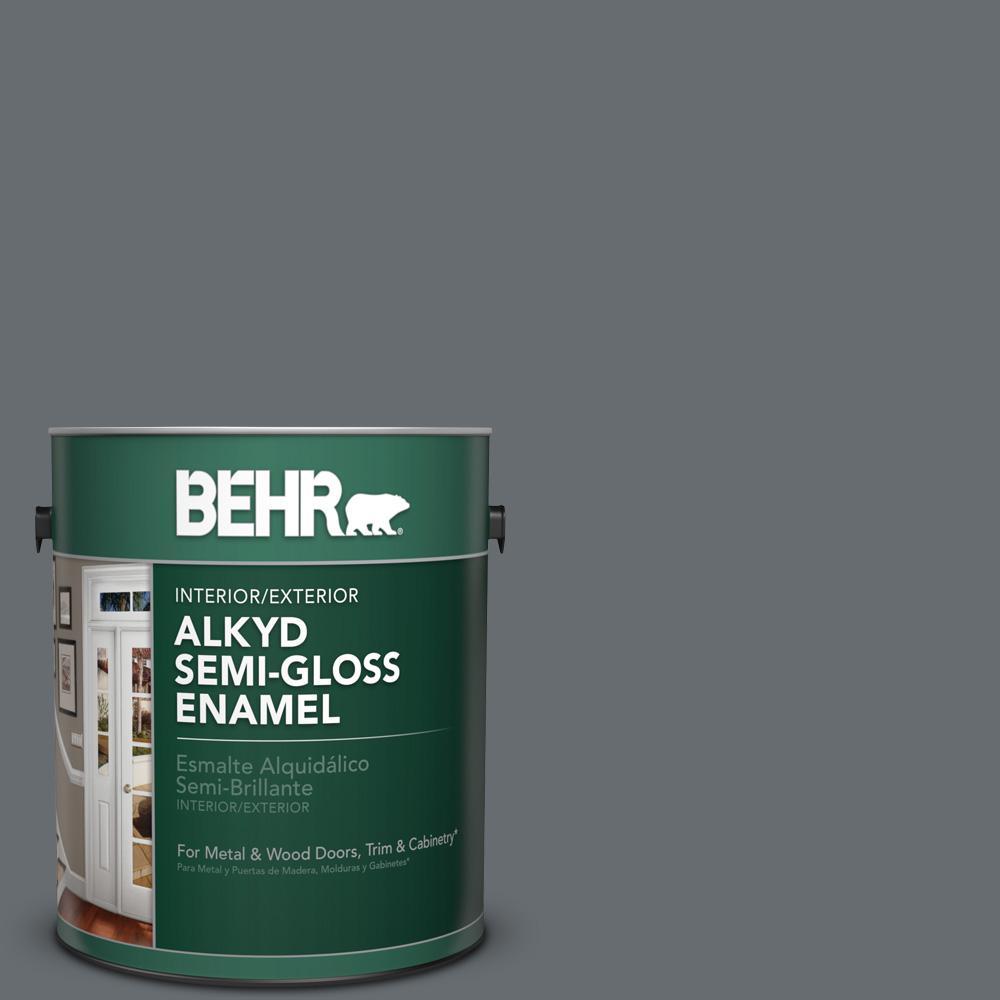 1 gal. #770F-5 Dark Ash Semi-Gloss Enamel Alkyd Interior/Exterior Paint