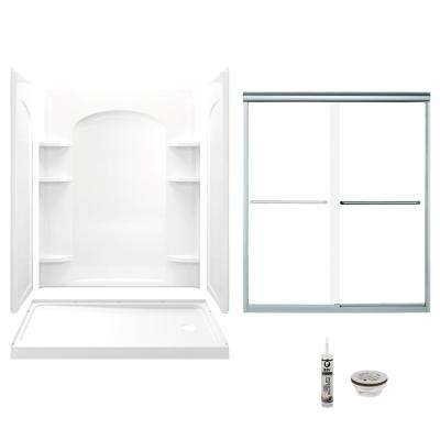 Ensemble 32 in. x 60 in. x 74.75 in. Right-Hand Drain and Backers Alcove Shower Kit in White and Chrome