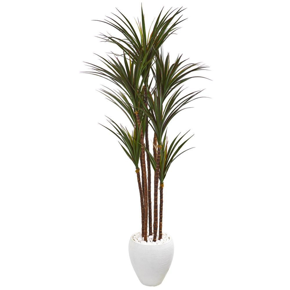 Nearly Natural 70 In Giant Yucca Artificial Tree In White Planter Uv Resistant 9659 The Home Depot