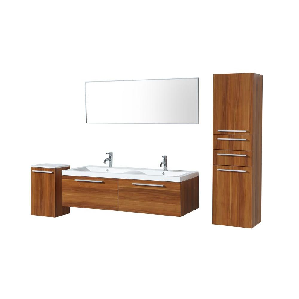 Virtu USA 56-4/6 in. Double Basin Vanity in Plum with Poly-Marble Vanity Top in White/Side Cabinets and Mirror-DISCONTINUED
