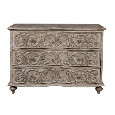 Traditional Style Brown Pecan 3-Drawer Accent Storage Chest