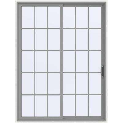 72 in. x 96 in. V-4500 Contemporary Silver Painted Vinyl Right-Hand 15 Lite Sliding Patio Door w/White Interior