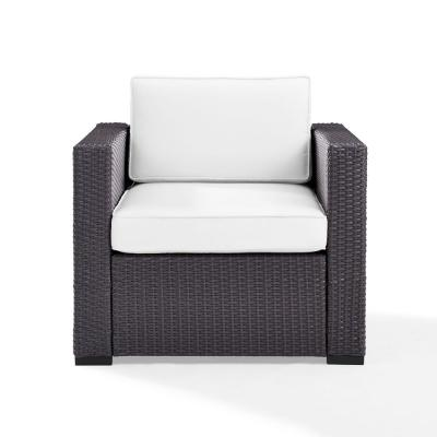 Biscayne Wicker Outdoor Patio Lounge Chair with White Cushions