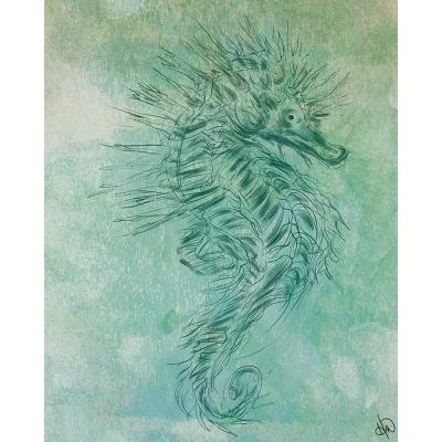 """20 in. x 24 in. """"Turquoise Seahorse"""" Acrylic Wall Art Print"""