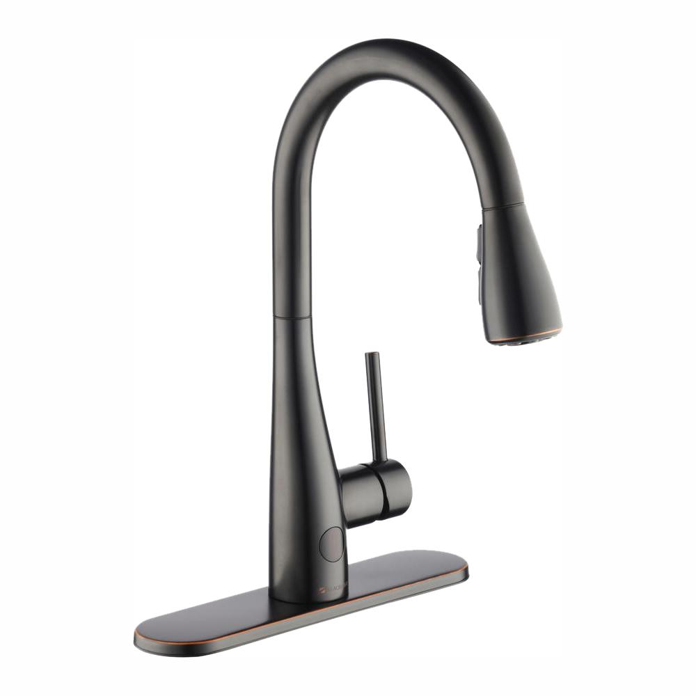 Glacier Bay Nottely Touchless Single-Handle Pull-Down Kitchen Faucet with  TurboSpray and FastMount in Bronze
