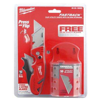 Fastback Flip Utility Knife with Blade Storage and 50-Blades