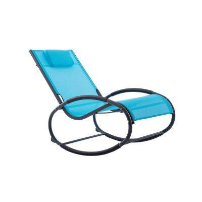 Vivere Ocean Blue on Matte Dark Grey Aluminum Outdoor Rocking Chair