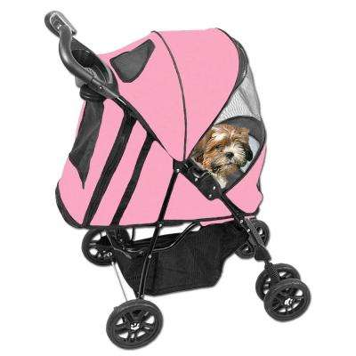 24 in. x 12 in. x 23 in. Happy Trails Pet Stroller with Weather Cover