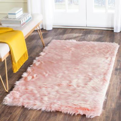 Faux Sheep Skin Pink 3 ft. x 5 ft. Area Rug