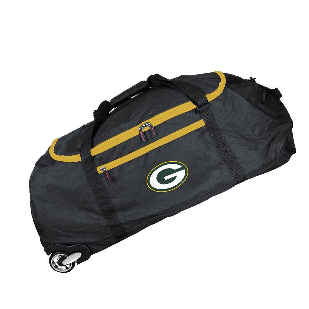 NFL Green Bay Packers 36 in. Checked-In Rolling Duffel in Black