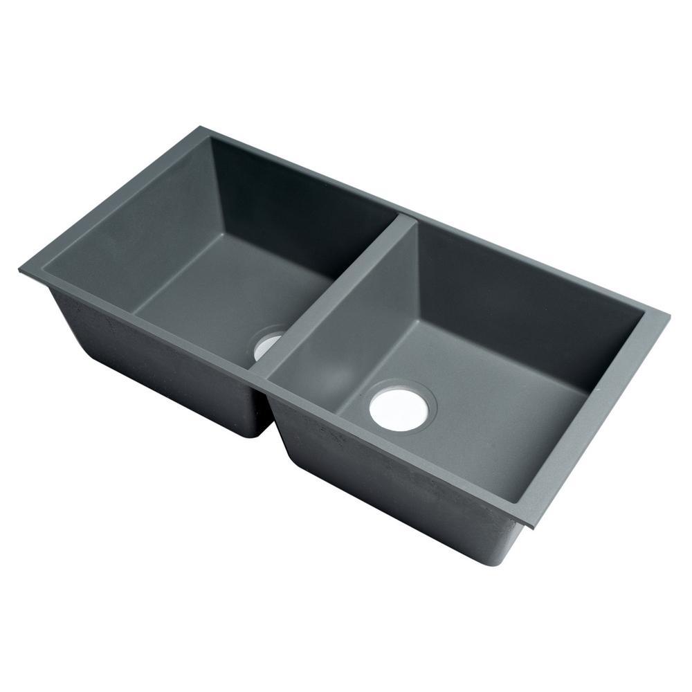 Undermount Granite Composite 33.88 in. 50/50 Double Bowl Kitchen Sink in Titanium