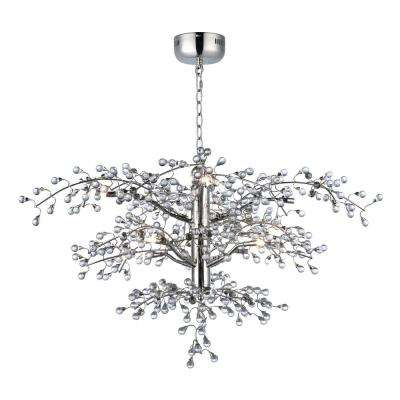 Cluster 36.75 in. W 8-Light Polished Nickel Chandelier with Clear Shade