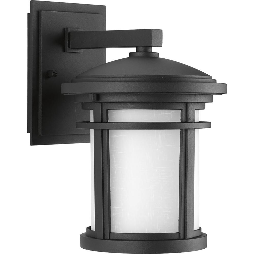 Progress Lighting Wish Collection 1-Light Outdoor 7 Inch Textured Black LED Wall Lantern  sc 1 st  The Home Depot : outdoor wall lights led - www.canuckmediamonitor.org