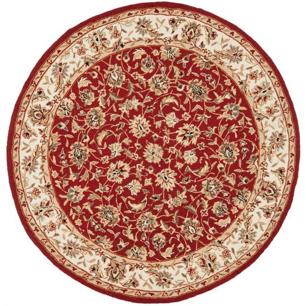 safavieh chelsea burgundy ivory 4 ft x 4 ft round area rug hk78b 4r the home depot. Black Bedroom Furniture Sets. Home Design Ideas