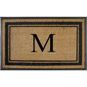 A1HC First Impression Markham Border 30 inch x 48 inch Coir Double Monogrammed M Door Mat by