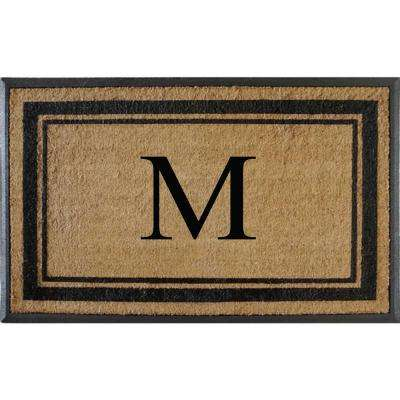 A1HC First Impression Markham Border 30 in. x 48 in. Coir Double Monogrammed M Door Mat
