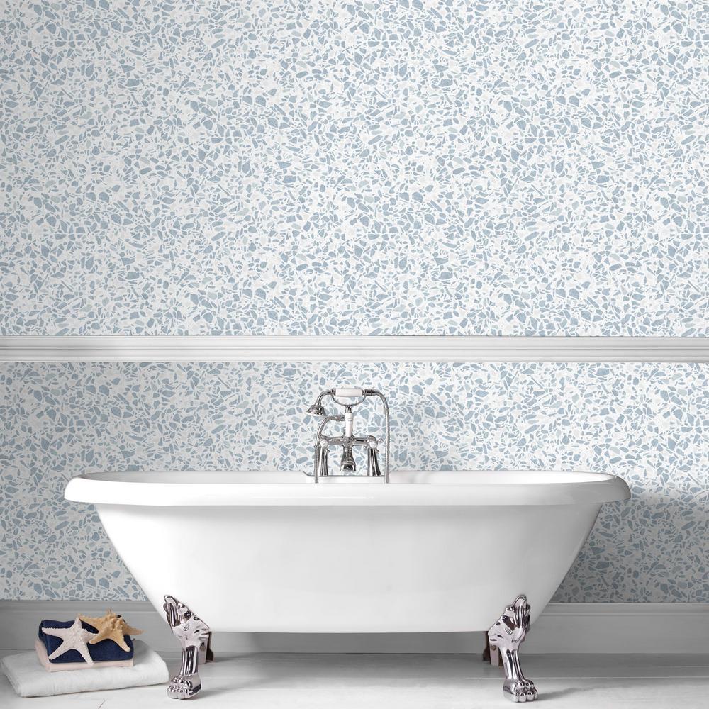Granito Blue and White Removable Wallpaper Sample