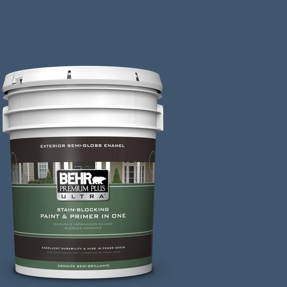BEHR Premium Plus Ultra 5-gal. #BXC-24 Atlantic Tide Semi-Gloss Enamel Exterior Paint