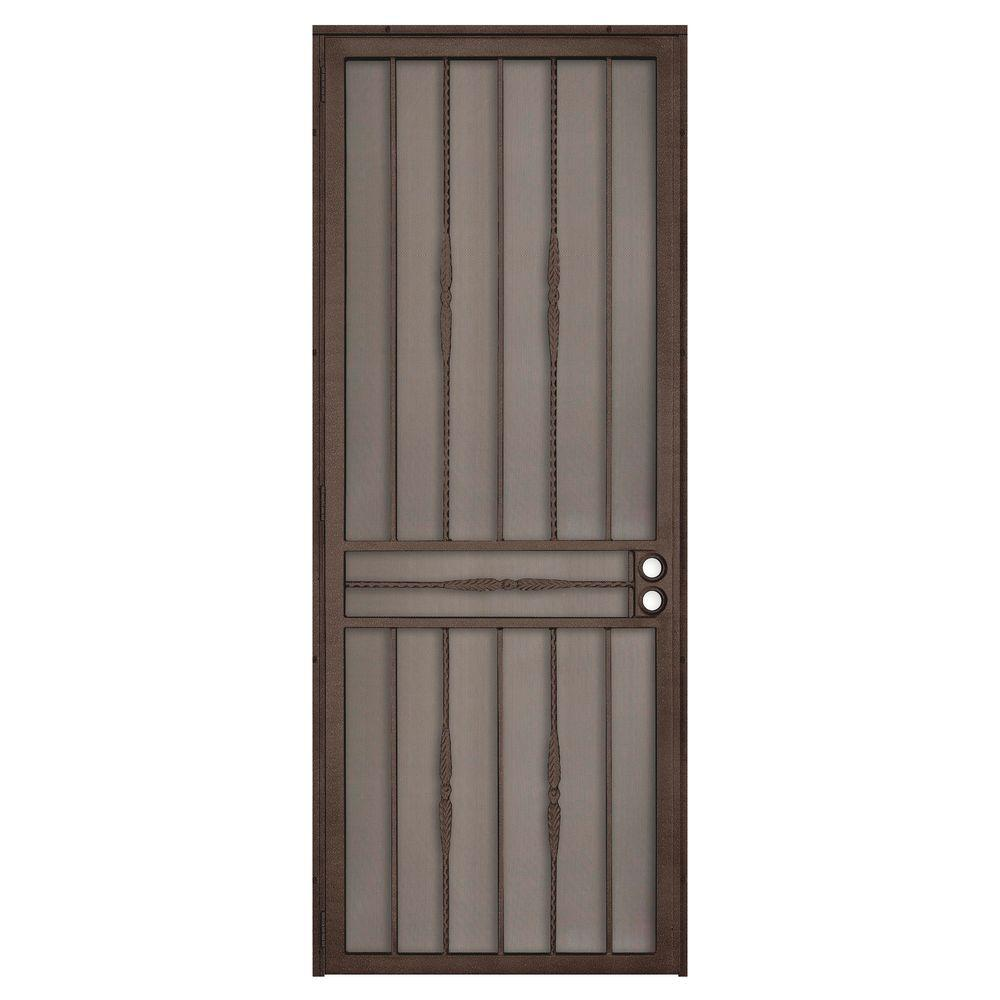 Unique Home Designs 36 in. x 96 in. Cottage Rose Copper Surface Mount Left-Hand Steel Security Door with Expanded Metal Screen