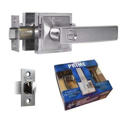 Satin Nickel Finish Premium Privacy Bed/Bath Door Lever Lock Set