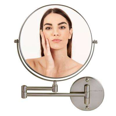 Nickel Brushed Wall Mount Mirror, 1x or 10x Magnification, MNLFW90BR1x10X
