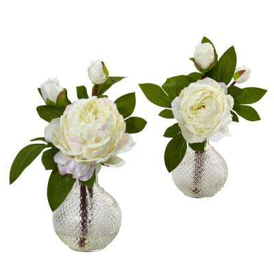 11 in. Indoor Peony with Vase (Set of 2)