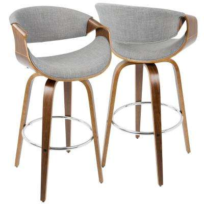 Curvini Walnut and Grey Swivel Seat Barstool