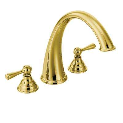 Kingsley 2-Handle Deck-Mount Roman Tub Trim Kit in Polished Brass (Valve Not Included)