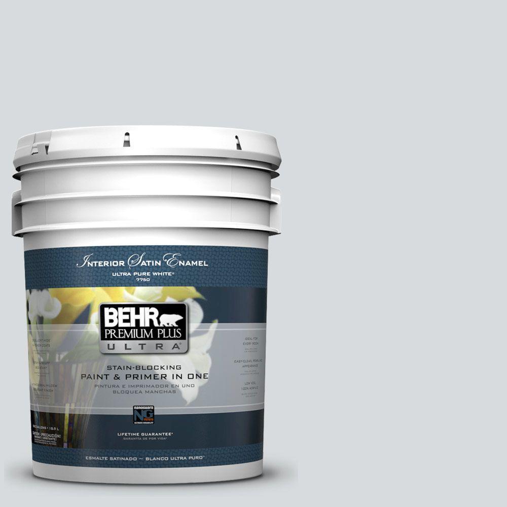 BEHR Premium Plus Ultra 5-gal. #ECC-33-2 Silver Sands Satin Enamel Interior Paint