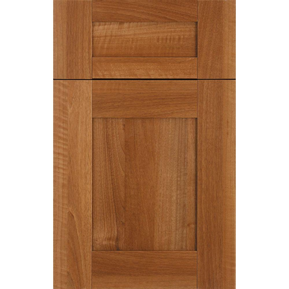 InnerMost 14x12 in. Radcliffe Thermofoil Cabinet Door Sample in Tiger-eye Walnut