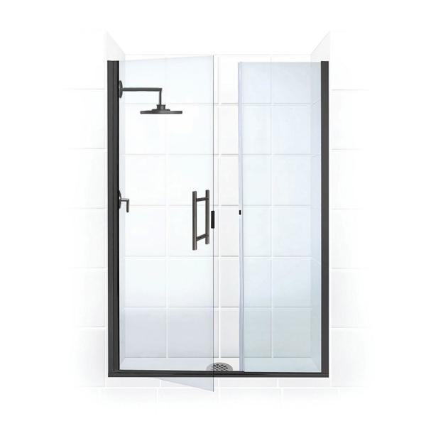 Coastal Shower Doors Illusion 57 In To 58 25 In X 75 In Semi Frameless Shower Door With Inline Panel In Matte Black And Clear Glass Hl57il 75o C The Home Depot