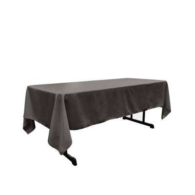 60 in. x 102 in. Charcoal Polyester Poplin Rectangular Tablecloth