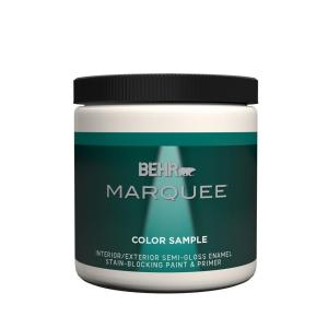 Behr Marquee 8 Oz Ultra Pure White Semi Gloss Enamel Interior Exterior Paint And Primer Sample