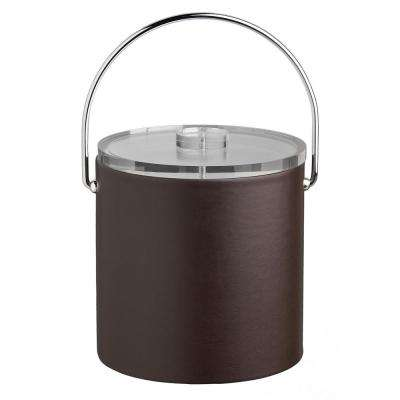 Contempo 3 Qt. Brown Ice Bucket with Bale Handle and Thick Lucite Lid