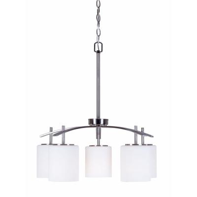 5-Light Brushed Nickel Chandelier with Satin Opal Glass Shade