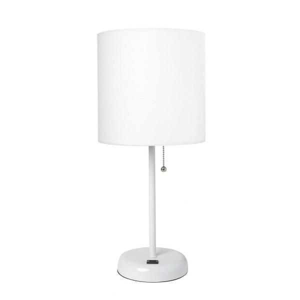 19.5 in. White Stick Lamp with USB Charging Port
